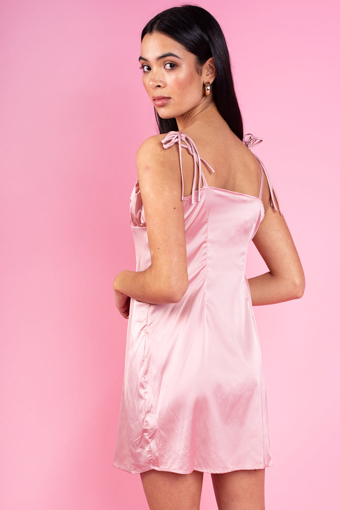 Pink Satin Ruched Bust Mini