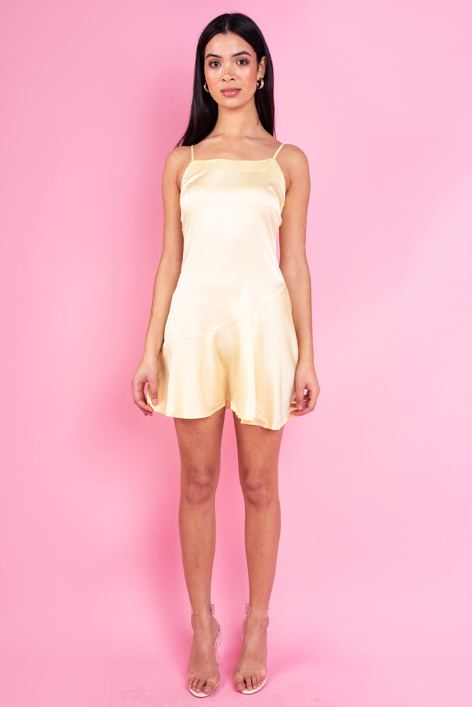 Yellow Satin Mini Slip Dress