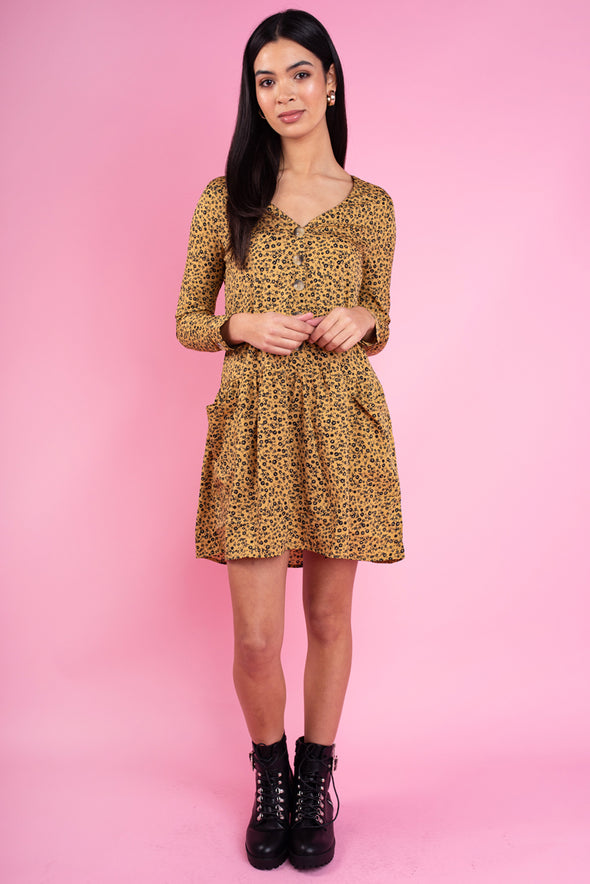 Mustard Floral Print Horn Button Smock Mini Dress