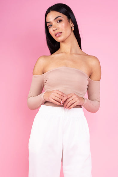 Bella Bardot Off the Shoulder Bodysuit- Nude