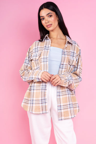 Bella Beige Check Brushed Flannel Shirt