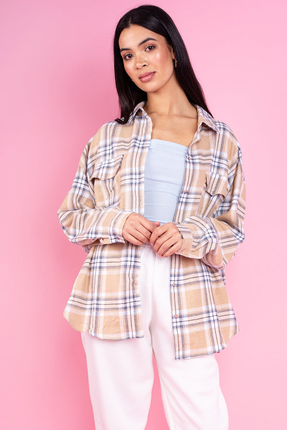 Isabella  Beige Check Brushed Flannel Shirt