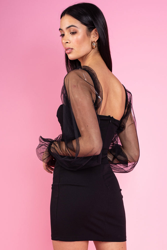 Black Sheer Sleeve Bustier Detail Bodycon Mini Dress Black
