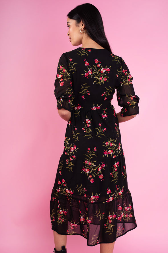 Black Floral Print Ruffle Cuff Wrap Front Tiered Midi Dress