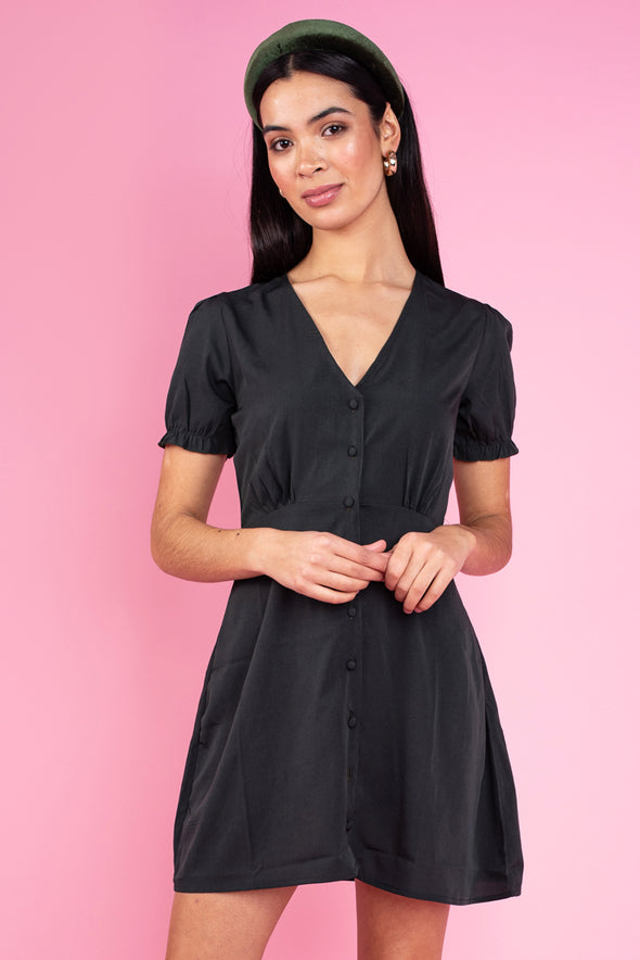 Dark Green Button Down Skater Tea Dress