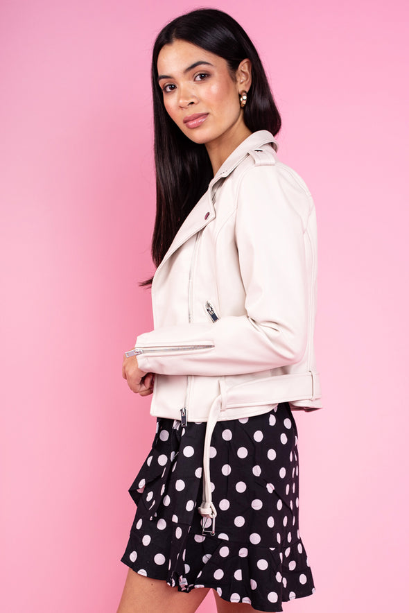 June Faux Leather Jacket - White