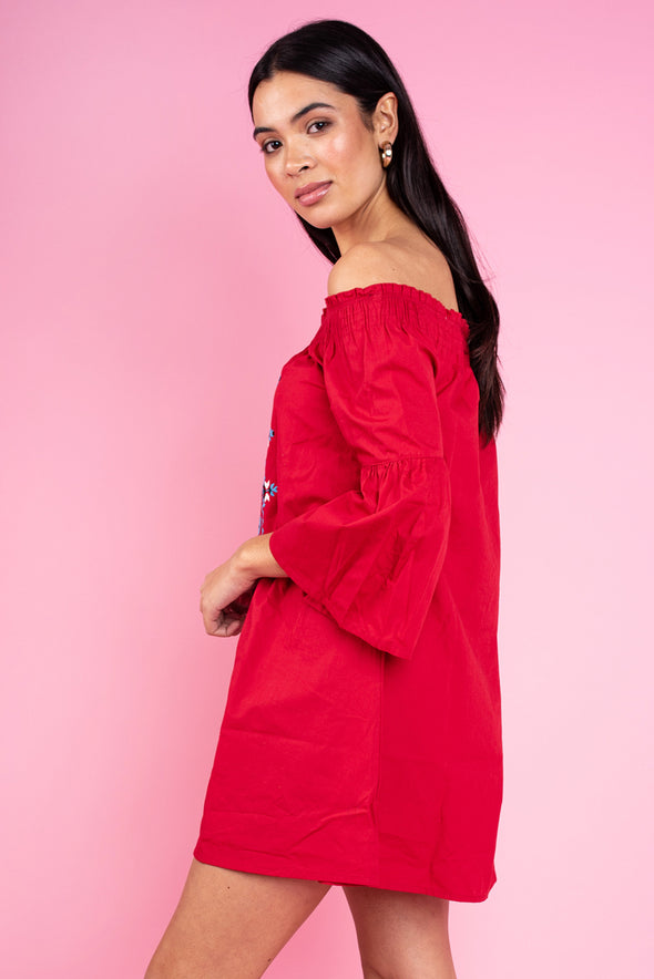 Kristi Off the Shoulder Dress - Red