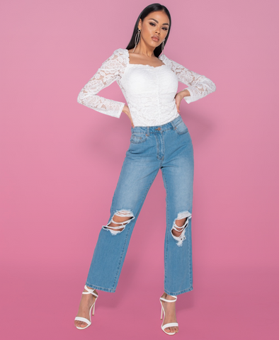 Tessie Distressed High Waist Mom Jeans