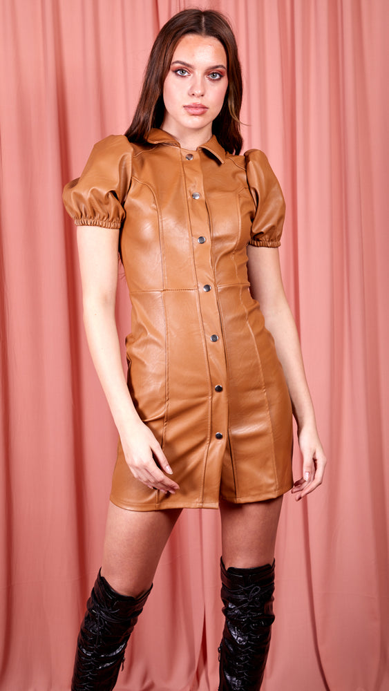 Button Up Faux Leather Dress - Camel