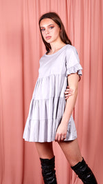 Nadia Frill Detail Tiered Smock Dress - Grey