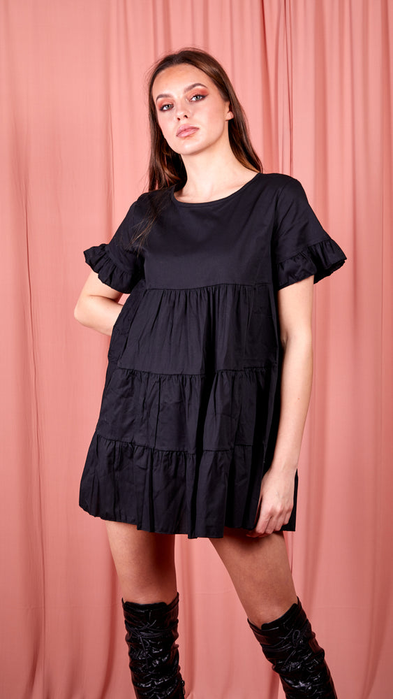 Frill Detail Tiered Smock Dress - Black