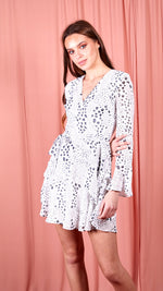 Kim Bell Sleeve Chiffon Mini Dress White Spot