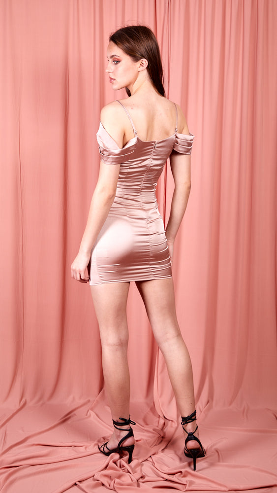 Pink Satin Bodycon Dress