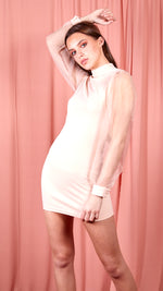 Millie Organza Sheer Puff Long Sleeve Bodycon Mini Dress