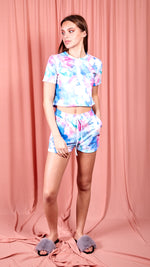 Petra Tie Dye T Shirt & Matching Runner Shorts Co Ord Set- blue