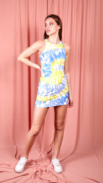Kellie Tie Dye Rib Sleeveless Dress- blue