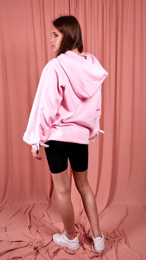 Pink Ruched Sleeve Hooded Sweatshirt