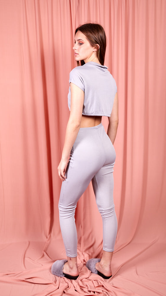 Ribbed Drawstring Crop Top & Trouser Co-ord - Grey