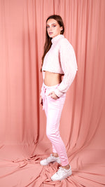 Teddy Bear Cropped Jumper - Pink