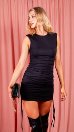 Black Ruched Dress with Shoulder Pads