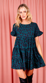 Cleo Leopard Print Frill Tiered Smock Dress - Green