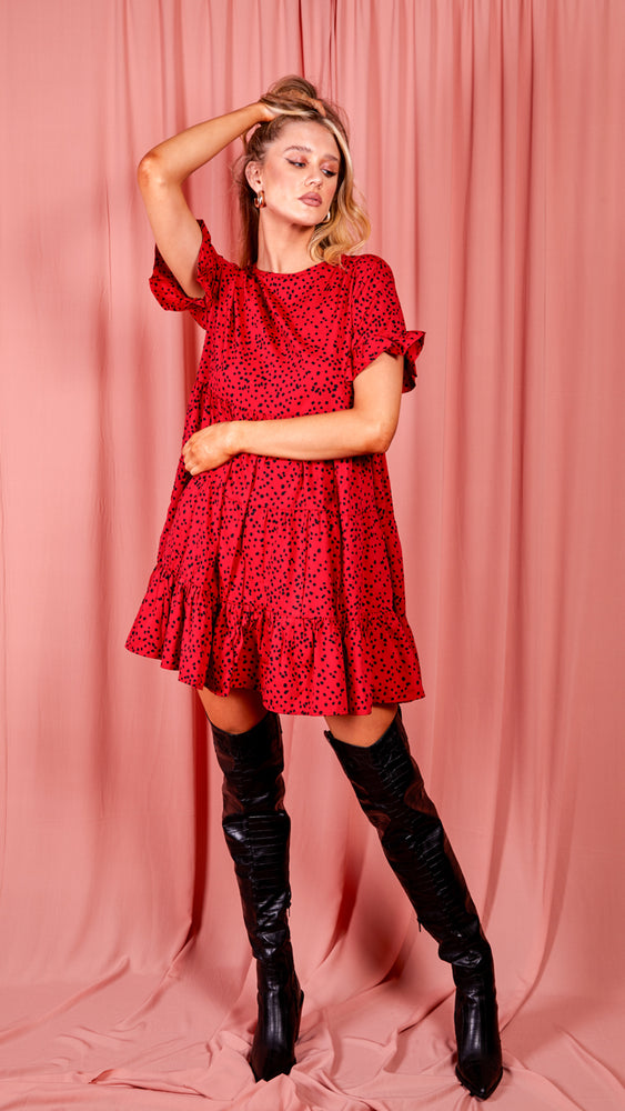 Spot Print Frill Tiered Smock Dress