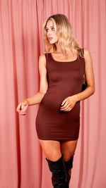 Cici Brown Scoop Neck Rib Knit Bodycon Mini Dress