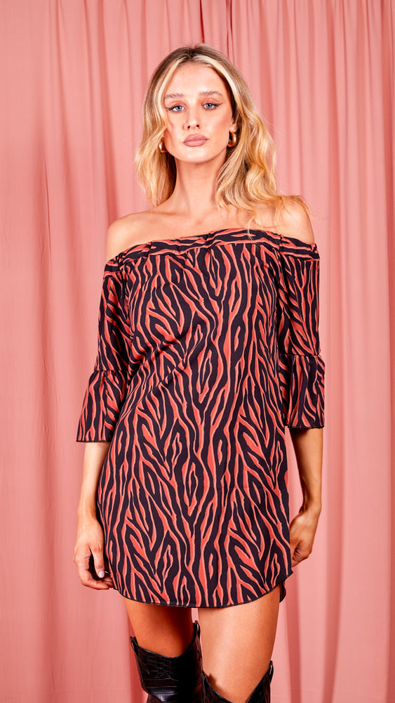 Zebra Bardot Dress - Rust
