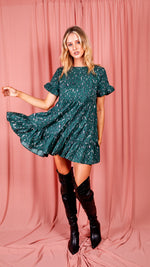 Abstract Print Frill Tiered Smock Dress