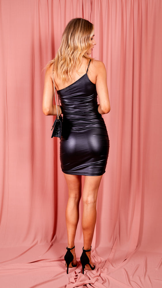 Cora Black Wet Look Ruched One Shoulder Bodycon Mini Dress