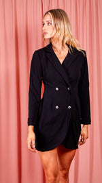 Black Button Up Blazer Dress Black