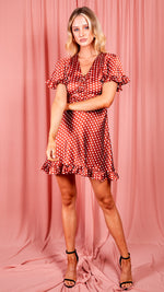 Rust Polka Dot Gathered Tie Front Dress