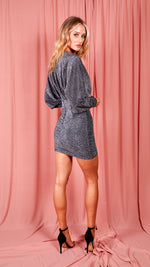 Grey Sparkly Bat Sleeve Dress