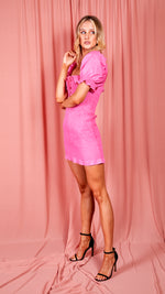 Betsie Bright Pink Puff Sleeved Dress