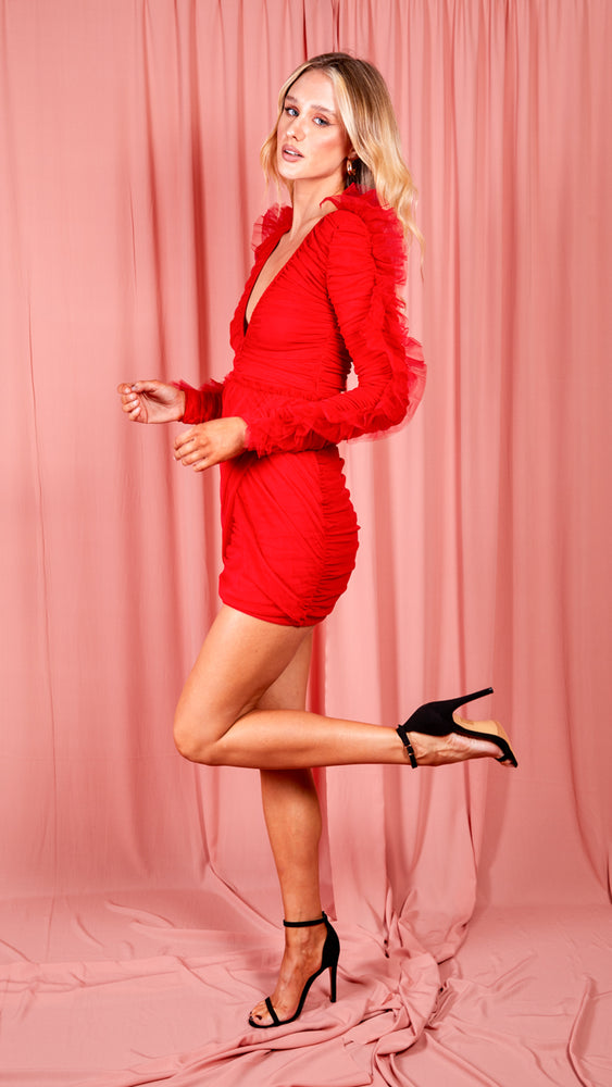 Red Statement Sleeve Mini Dress