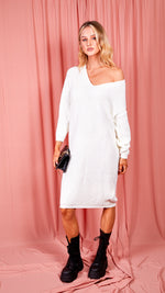 Lyndsay Off White Midi Knit Dress