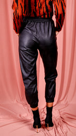 Tatiana PU Elasticated Waistband & Hem Jogging Trousers