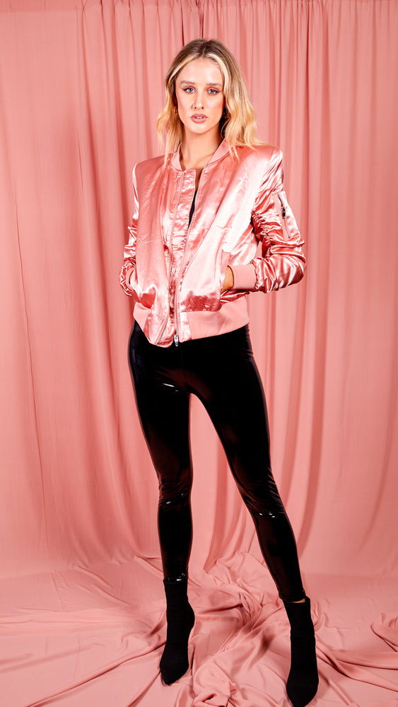 Pink Satin Ruched Sleeve Bomber