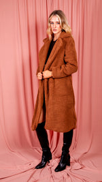 Rust Longline Borg Teddy Coat