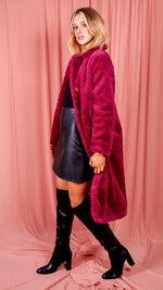 Natacha Longline Teddy Coat - Purple
