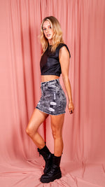 Distressed Grey Denim Mini Skirt