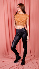Brown Faux Leather Crop Top With Shoulder Pads
