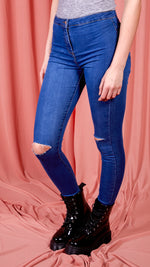 Dark Blue Jeans with Knee Splits