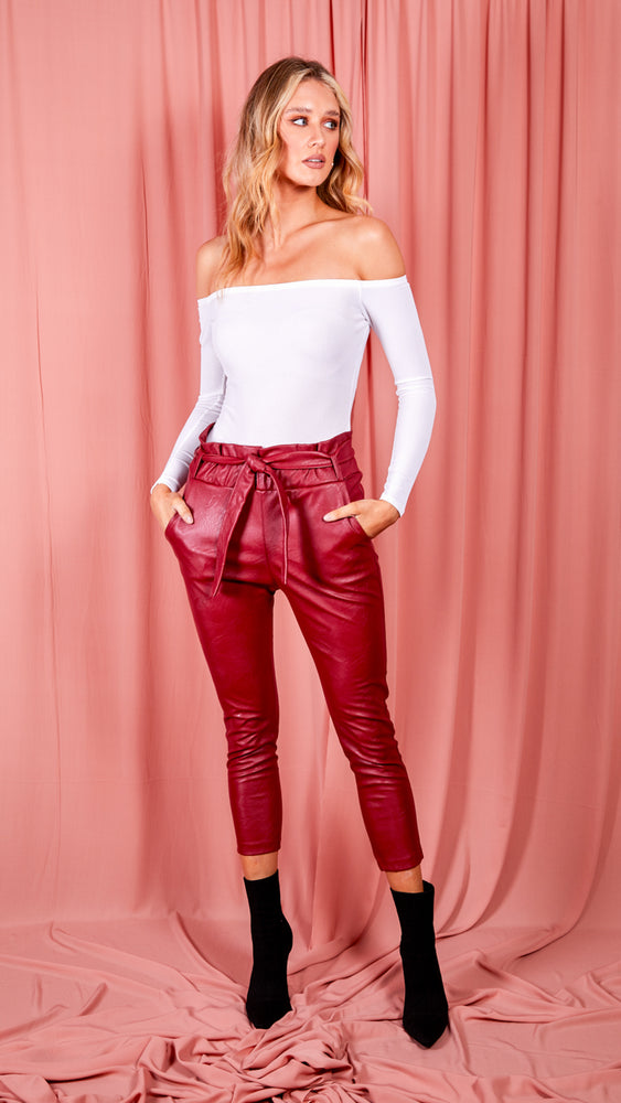 Wine PU Paperbag Waist Tapered Leg Trouser