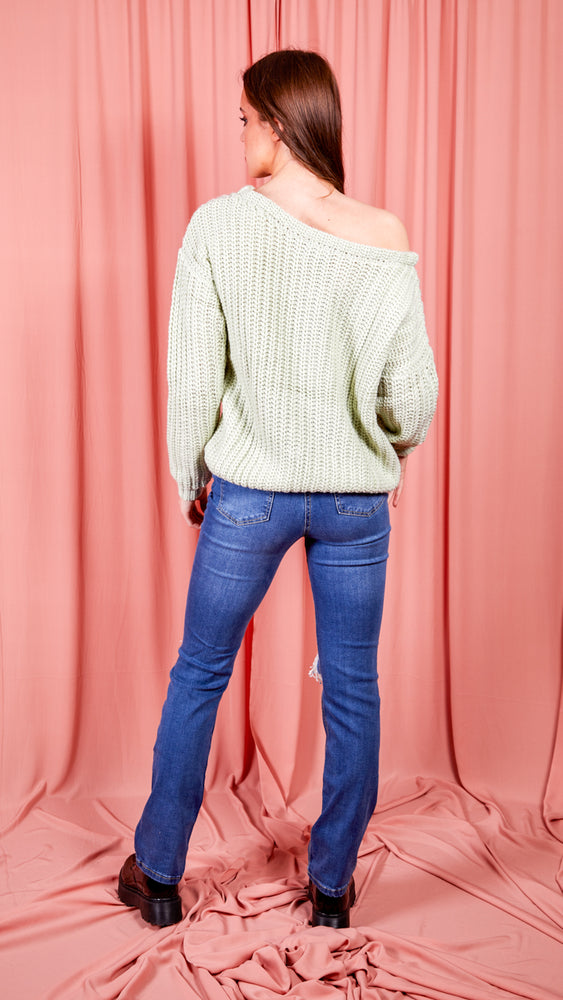 Sage Green Off The Shoulder Jumper