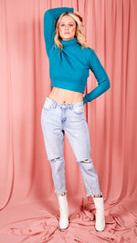 Joanne High Neck Jumper - Blue