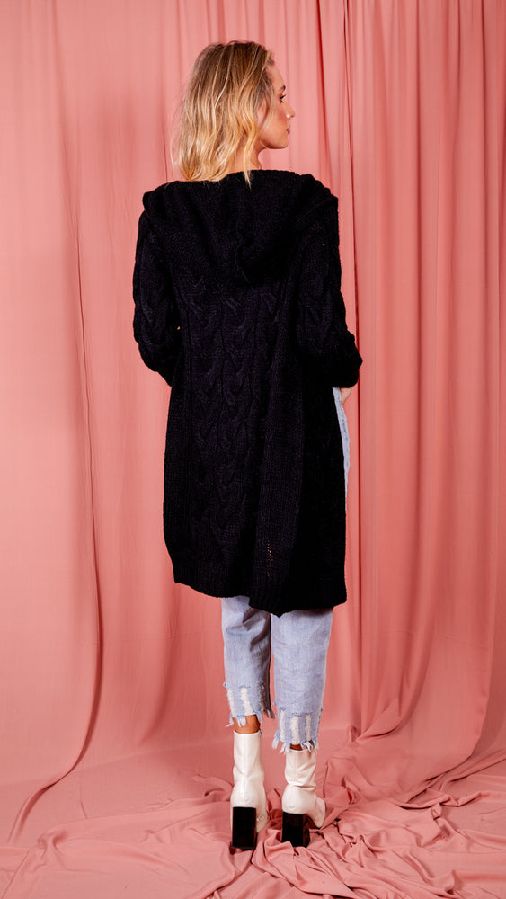 Hooded Cable Knitted Longline Cardigan - Black