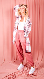 Pink and White Check Print Shacket