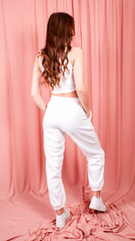 Dreamer White Oversized Fleece Joggers