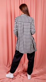 Black Mono Check Oversized Long Sleeve Shirt Dress
